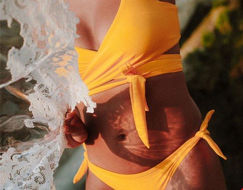 Yellow Line Bikini Bottom